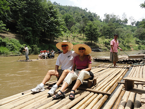 John and Anne Reynolds on a Bamboo Raft
