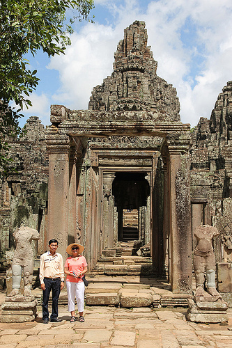 Anne Reynolds and Guide at Angkor Thom