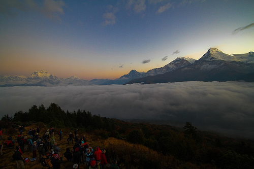 Crowds Watching the Annapurna Range at Sunrise at Poon Hill
