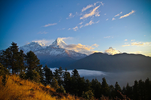 Hiking Down from Poon Hill After Sunrise