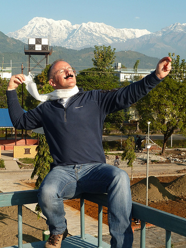 David Jarvis Hamming It Up at the Pokhara Airport