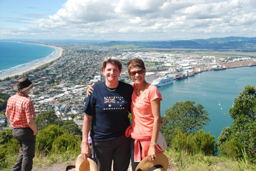 Kath James and Julia Kleve at the Top of Mt. Maunganui