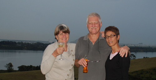 Kath James, Fred and Julia Kleve in Tauranga
